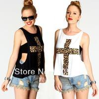 Plus Size XS~ XXL 2014 New Women Leopard Cross T-shirt Vest Camis O-neck  Women Fashion Loose T shirt  Bra Tube White Black T020