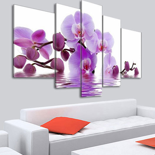 5 Panel Wall Art Hand Painted Purple Orchid Flowers Abstract Landscape Oil Painting Wall Pictures For Living Room(N