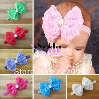 Free Shipping!! Shabby Rose Super Big Bow With Elastic Headband For toldder Baby Mix Color 20pcs/lot