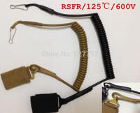 Tactical Adjustable  Pistol Hand Gun Secure Spring Lanyard Sling with Belt Velcro Outdoor Combat Gea