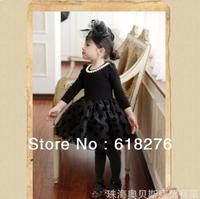 2014 New Euorpean and American Style  Dot  Cotton Girl  Dress Patchwork  Princess Dress Long Sleeve Children Dress Free Shipping