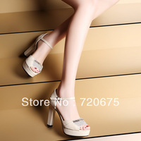 2014 new women sandals high heel with fish mouth roman style rhinestone work wedding party fashion