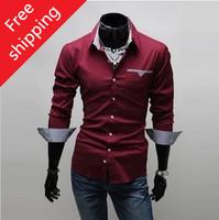 Free shipping New 2014  wholesale and retail long-sleeved shirt New Men's casual shirts Men's Slim Shirt
