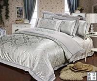 Luxury 4pcs Silver Tencel silk Jacquard bedroom quilt/bedspread/pillowcase bedding set Queen/King size/B2194 Express shipping