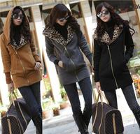 New 2015 Women's Long Sleeve Leopard Coat Warm Outerwear Casual Zipper Hoodie Sweatshirt Drop Shipping