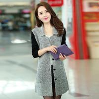Ouqu 2014 women's spring brief elegant cardigan medium-long sweater thin outerwear