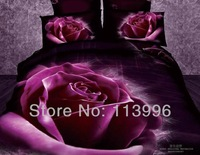 2014 new purple rose flower 3d prints cotton girl lady bedding set queen full size duvet quilt cover sheet set bedcover sets