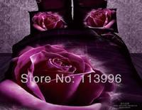 2014 new purple rose flower 3d prints cotton girl lady bedding set queen full size duvet quilt cover sheet set bedcover sets