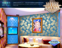2014 new gold wallpaper Entertainment KTV ambilight Bar backdrop blue golden peacock feathers red