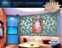 2014 new gold wallpaper Entertainment KTV ambilight Bar backdrop blue golden peacock feathers red