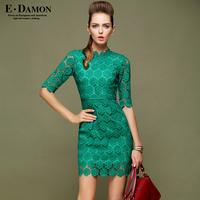 2014 New Time-limited Freeshipping Cotton Casual Dobby Edamon2013 Autumn Women's One-piece Dress Cutout Nork Slim Sleeve 1629