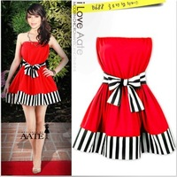 2014  Star sexy tube top party dress solid color stripe  dresses charming spring and summer princess expansion S M L XL XXL