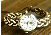 W020 2013 New Product fashion vintage style watch for women fashion Weave Braid leather watch quartz watch