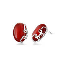 88a156 red agate pure silver stud earring