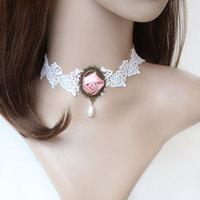 Lolita Gothic Bridal White Lace Choker Short Necklace Handmade Pink Flower Rose Drop Beads Pendant Fashion Jewelry FREE SHIPPING