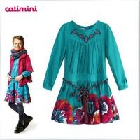 Super Beautiful 2014 fashion children dress girl dress with color belt brand girl's dresses hotsale designer kids dress for girl