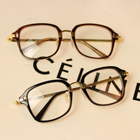 C1 2014 non-mainstream glasses trend of the black box around the metal eyeglasses frame plain glass lens  wholesale