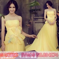 Cii Sexy Bra yellow wedding dress bride wedding toast long section