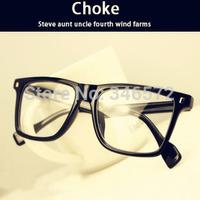 2014 vintage big black plain mirror box glasses frame myopia spectacle frame  free shipping