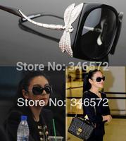 Dragonfly diamond women's sunglasses vintage mirror large frame sunglasses elegant glasses brief all-match large sunglasses