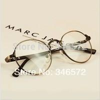 Vintage style plain glass spectacles glasses frame metal round box eyeglasses frame