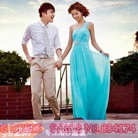 Cii blue evening dress cheongsam toast clothing long section 2014 newest special occasions