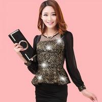 Spring 2015 new Korean female long-sleeved chiffon shirt Slim was thin lace flounced blouse small bottoming shirt tide m602