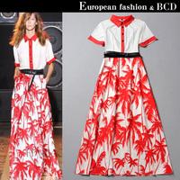 2014 summer fashion turn-down collar short-sleeve coconut tree pattern print  one-piece dress bohemia full dress