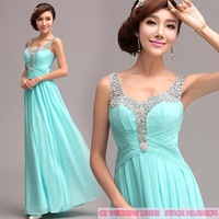 Cii blue diamond toast clothing long section of special occasion evening dress sexy evening dress deep v dress