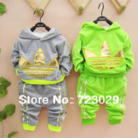 New 2014 kids Clothing Set Rose,Gray,green,Sky blue color boy and girl clothing sets 2 Pieces Spring Autumn children Outfits