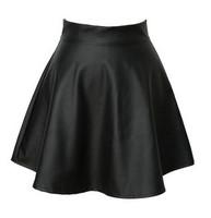 New 2014 Summer spring short tutu skirts, high waist pleated skirt, PU leather punk bust skirts female women skirt black saia
