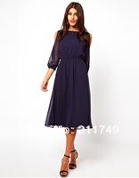 Free shipping women's chiffon pure color O-neck off the shoulder long sleeve dress chiffon dress