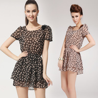 Hot-selling 5002 2014 kitten short-sleeve slim waist double layer ruffle chiffon one-piece dress shoulder flower