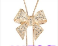 Free shipping set auger noble new bow bow long necklace sweater chain necklace