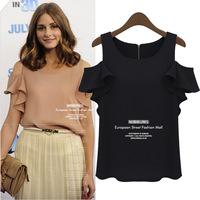 Women Shirt 2014 New Fashion Ruffles Sleeveless Blouse Ladies' Elegant Off Shoulder Chiffon Shirts Women Blusas Femininas Tops