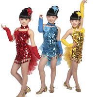 Child costume Girl's Latin Dance Skirt Backless WithTail children Modern Performance Wear kids Dance Clothes Halter Dresses