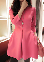 2014 spring ladies gauze patchwork thickening slim one-piece dress