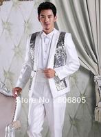 Slim men's tuxedo Shiny stripes Deep V-neckline Wedding Groomsmen's dress Size:M-XL Jacket+Pant+Tie+Girdle