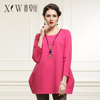 2014 spring women's short skirt knitted basic loose o-neck solid color wrist-length sleeve one-piece dress female