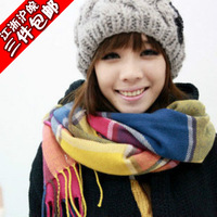 Faux multicolour plaid plus size thickening thermal muffler scarf female scarf air conditioning cape