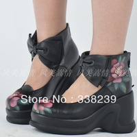 European and American style 2014 new woman shoes Real cowhide Coloured drawing or pattern  spring and autumn single shoes