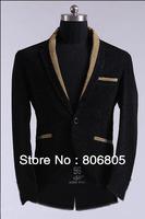 Winter Leisure men's Suits Imitation wool Slim Deep V-neckline Pure with ribbon edge Size:M-XL Jacket+Pant