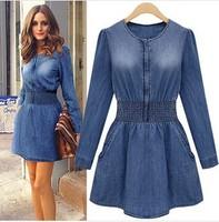 Free shipping 2014 new denim long sleeve dress spring new dress