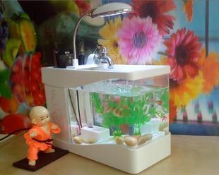 Usb mini fish tank office desk computer table small fish tank aquarium tape led lighting usb fish tank(China (Mainland))