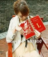 Free shipping High Quality 2014 Korean fashion book design novelty PU Leather women clutch handbag, metal chain shoulder bag