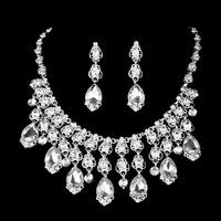 Trendy  Woman  Party  Statement  Jewelry Tassel  Water Drop Crystal Rhinestone Necklace Earring Set