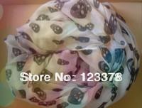 Fashion ultra long ultra wide skull scarf long design sunscreen cape air conditioning silk scarf female cape yarn free shipping