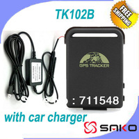 Free shipping Free GPS Tracker System Global GPS Car/ Vehicle Tracking Real Time TK102B GPS Tracker with Car Charger
