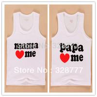 Wholesale 8PCS/LOT  2014 new Hotsale Boys Girls baby new I love papa mama Children's vest Infants & Toddlers new T shirt