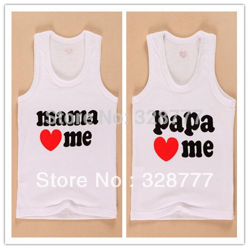 Wholesale 8PCS/LOT 2014 new Hotsale Boys Girls baby new I love papa mama Children's vest Infants & Toddlers new T shirt(China (Mainland))
